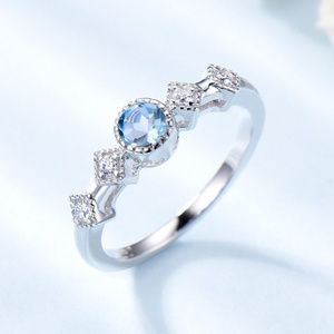 Skype Blue Topaz Engagement Ring Silver Gift